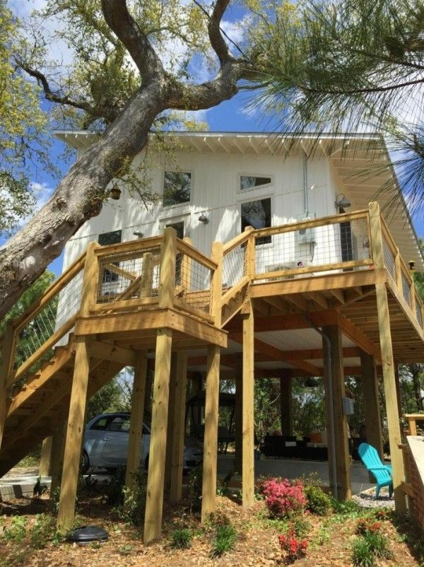 small stilt seashore home waveland mississippi pinned by haw