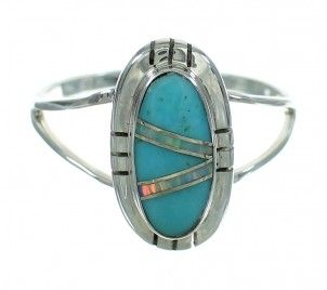 Authentic Sterling Silver Turquoise Opal Southwestern Ring Size 6 RX88577-1