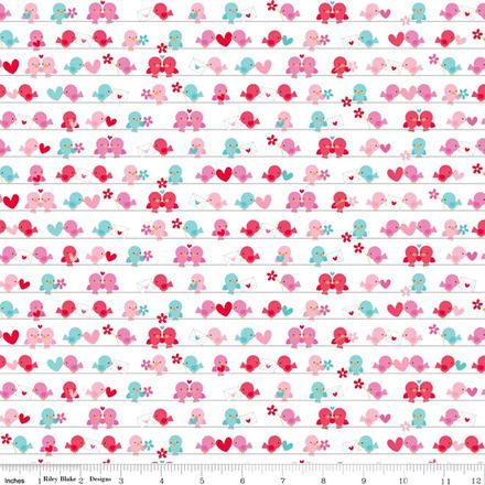Lovey dovey blue and pink birds - riley blake designs