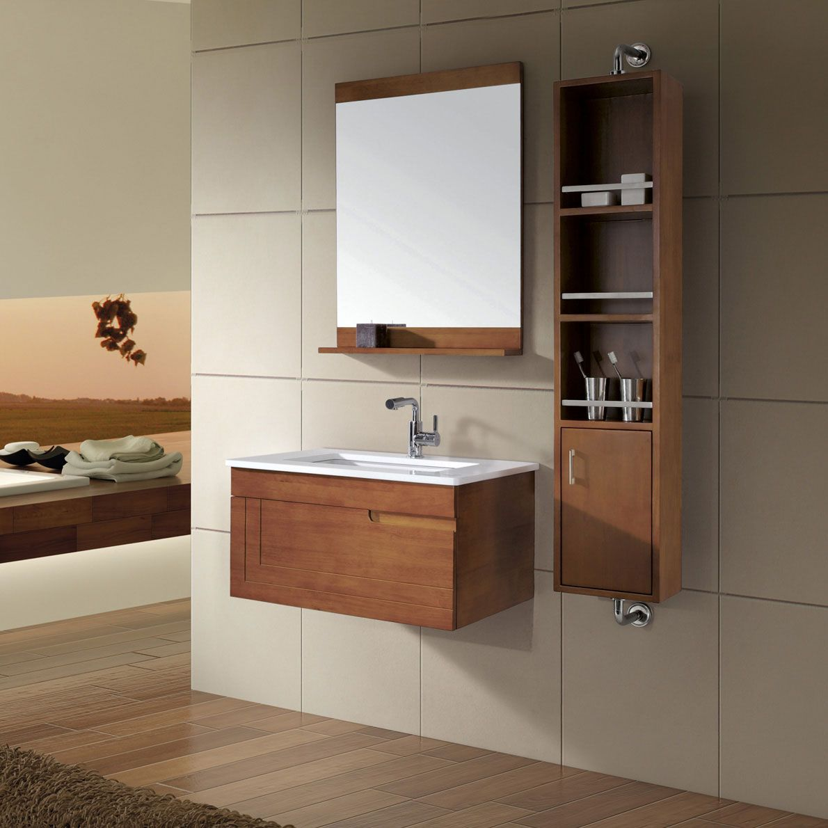 Attractive Wood Wall Mounted Storages And Mirror With Shallow Shelf On Stylish Small Bathroom Vanity