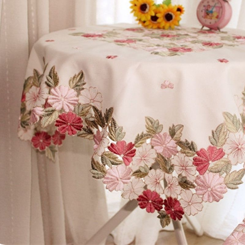 Square 85 85cm Cutwork Handmade Embroidered Table Cloth Topper Luxury Polyester Satin Jacquard Embroidery F Floral Tablecloth Table Cloth Applique Table Runner