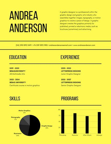 Yellow Lines Modern Infographic Resume Resume Pinterest - info graphic resume