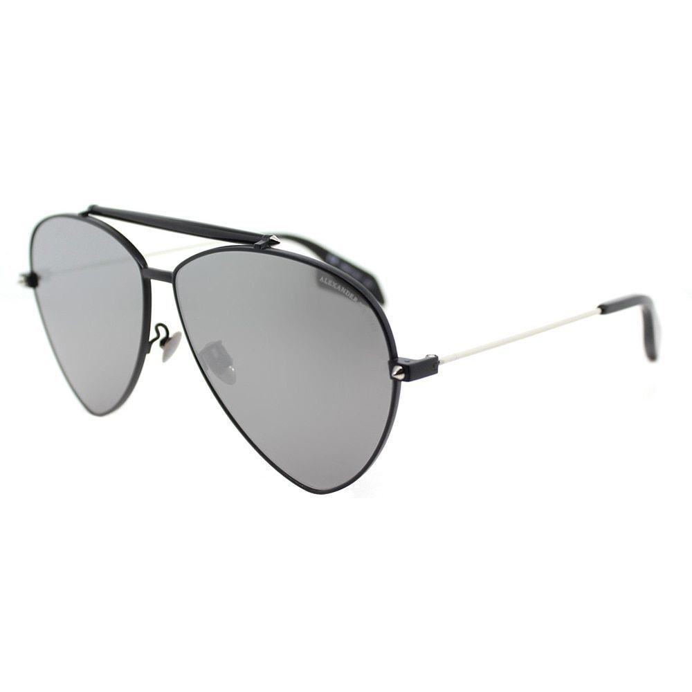 Alexander McQueen AM 0058S 001 Matte Aviator Sunglasses Silver Flatt Mirror Lens