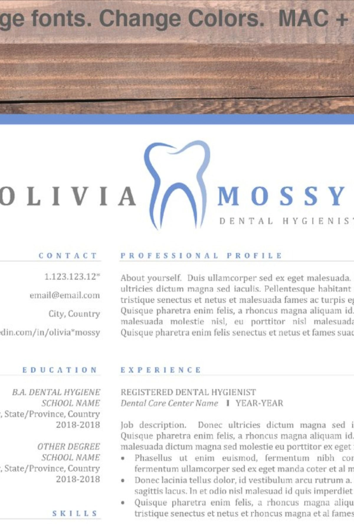 Hygienist Resume Template Dentist CV (With images