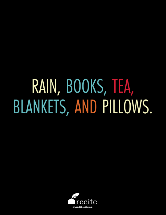 rain books tea blankets and pillows quote from recite com