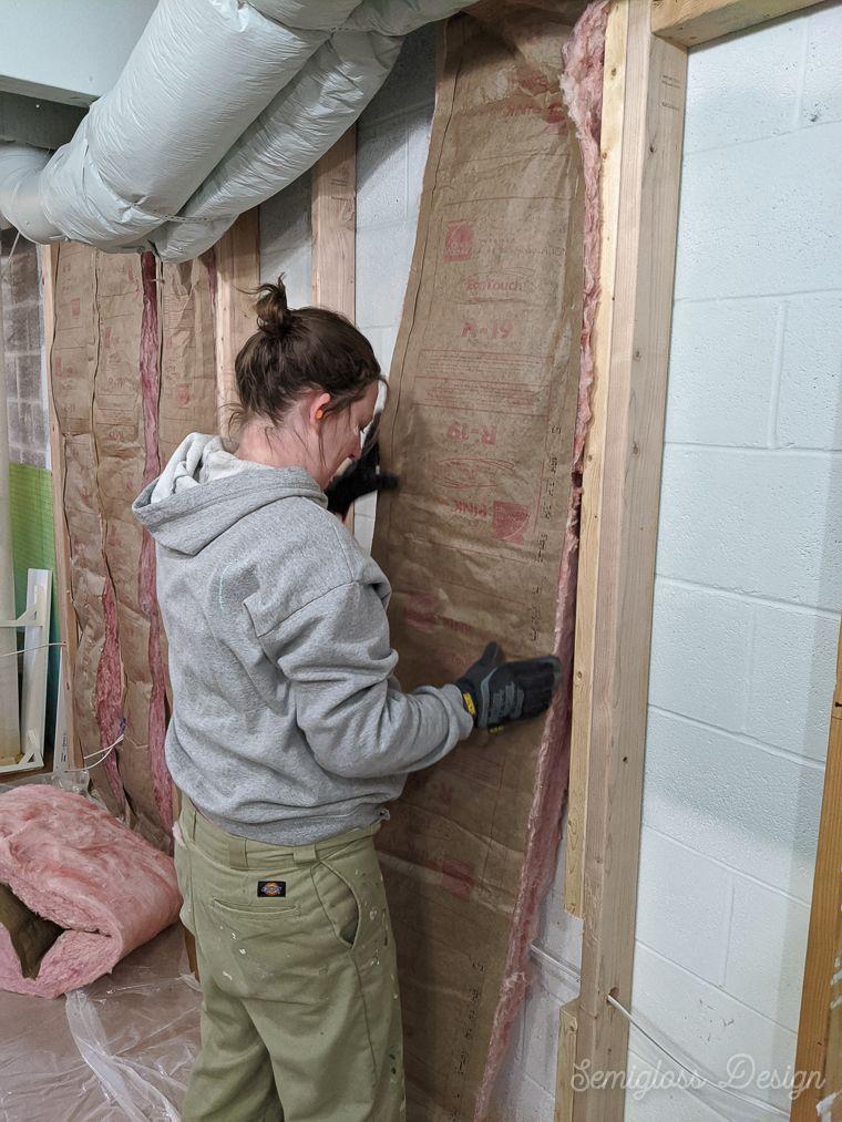 Insulating Basement Walls With Fiberglass Batting Semigloss Design In 2020 Insulating Basement Walls Basement Insulation Basement Walls