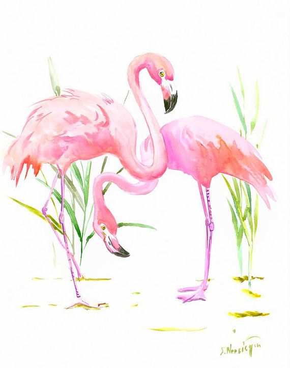 Flamingos By Originalonly On Etsy Flamant Rose Dessin Flamand