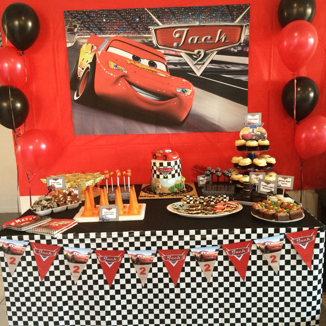 Disney Cars Party Dessert table Cars themed food Lightning McQueen