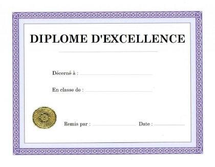 IMPRIMER DIPLOME D'EXCELLENCE ETUDES SCOLAIRES VIERGE A PERSONNALISER