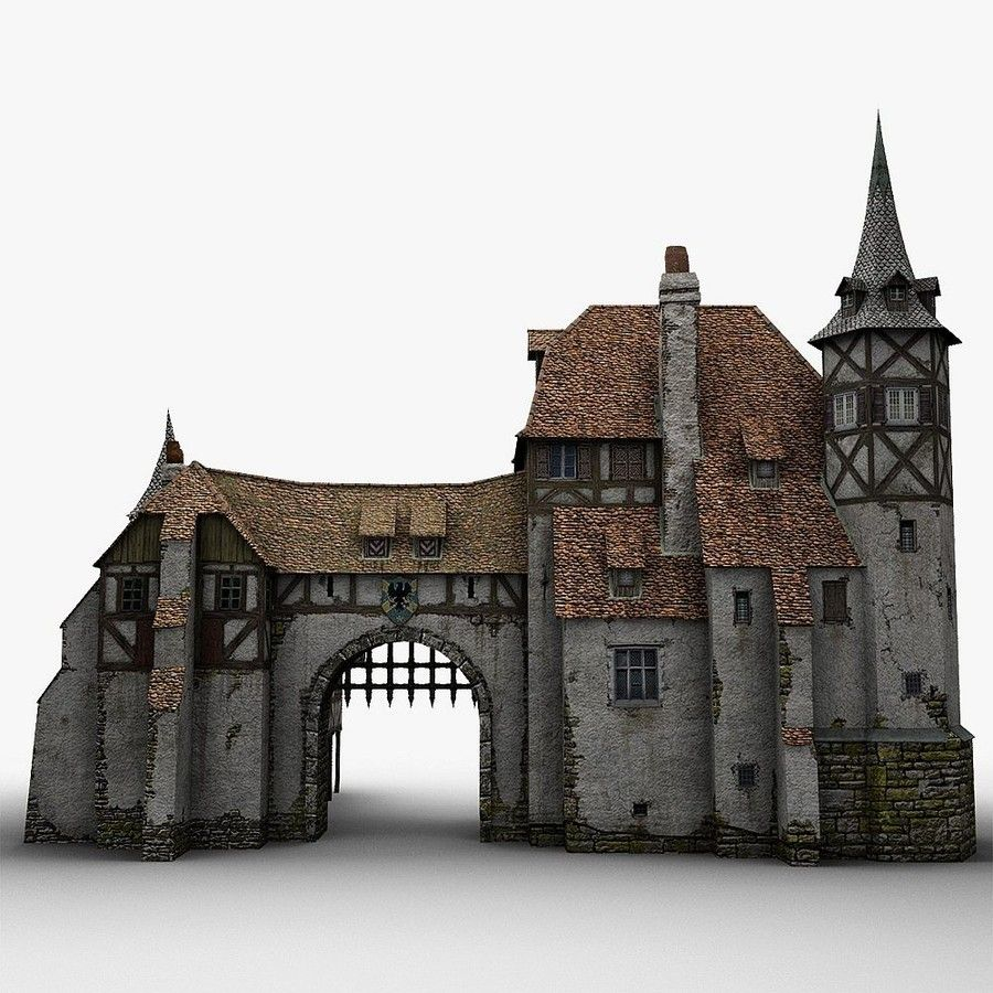 Old Medieval Warehouse 3d Obj Architecture Médiévale Et