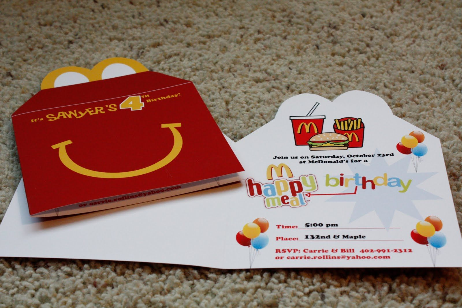 Mcdonalds Birthday Party Invitations  Mcdonalds birthday party