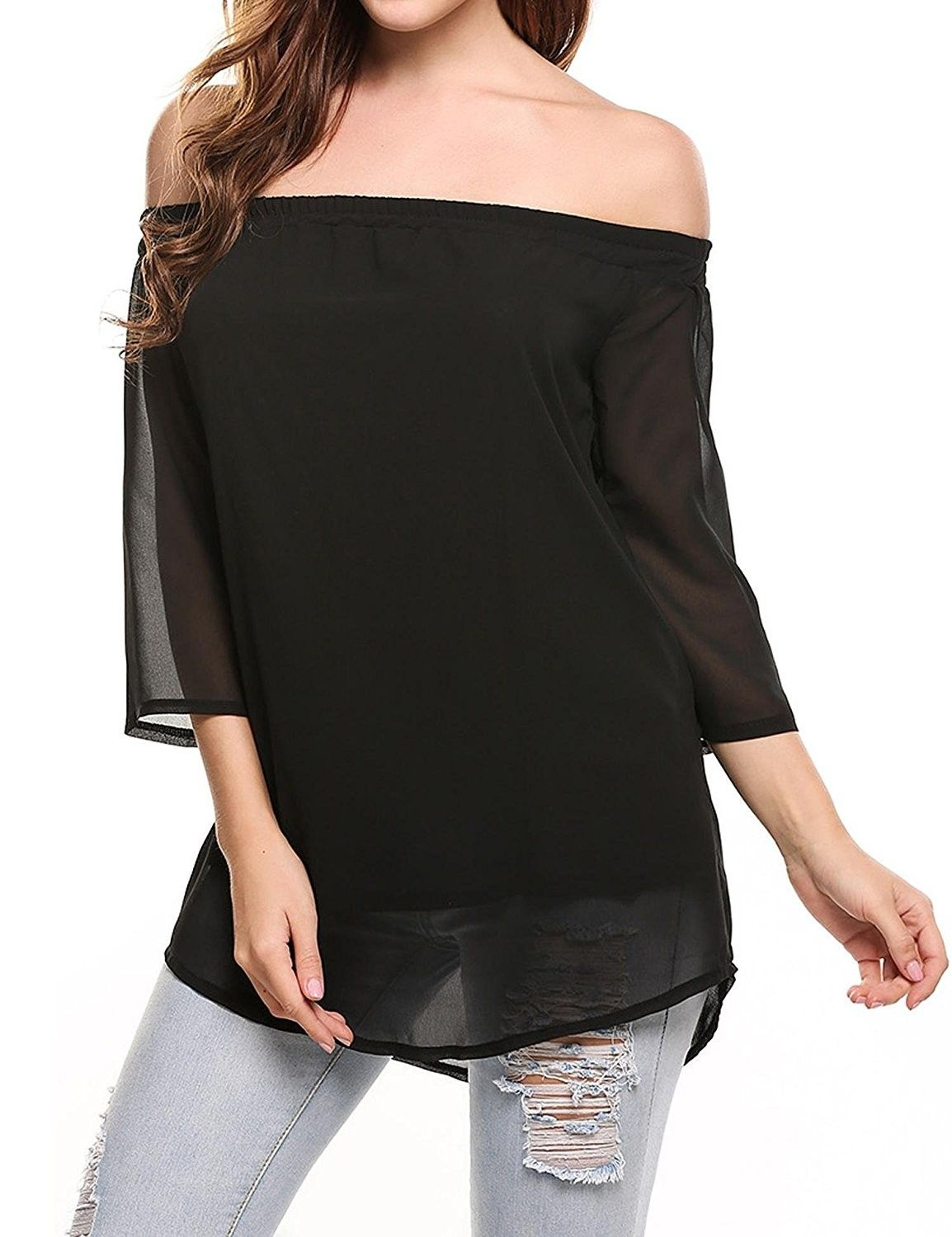 8bc9bf9a Women's Off Shoulder 3/4 Sleeve Loose Elegant Chiffon Strapless Blouse Shirt  Tops - Black