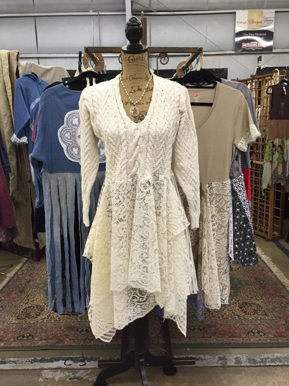 women's cream vintage lace tunic/sweater dress repurposed one of a ...
