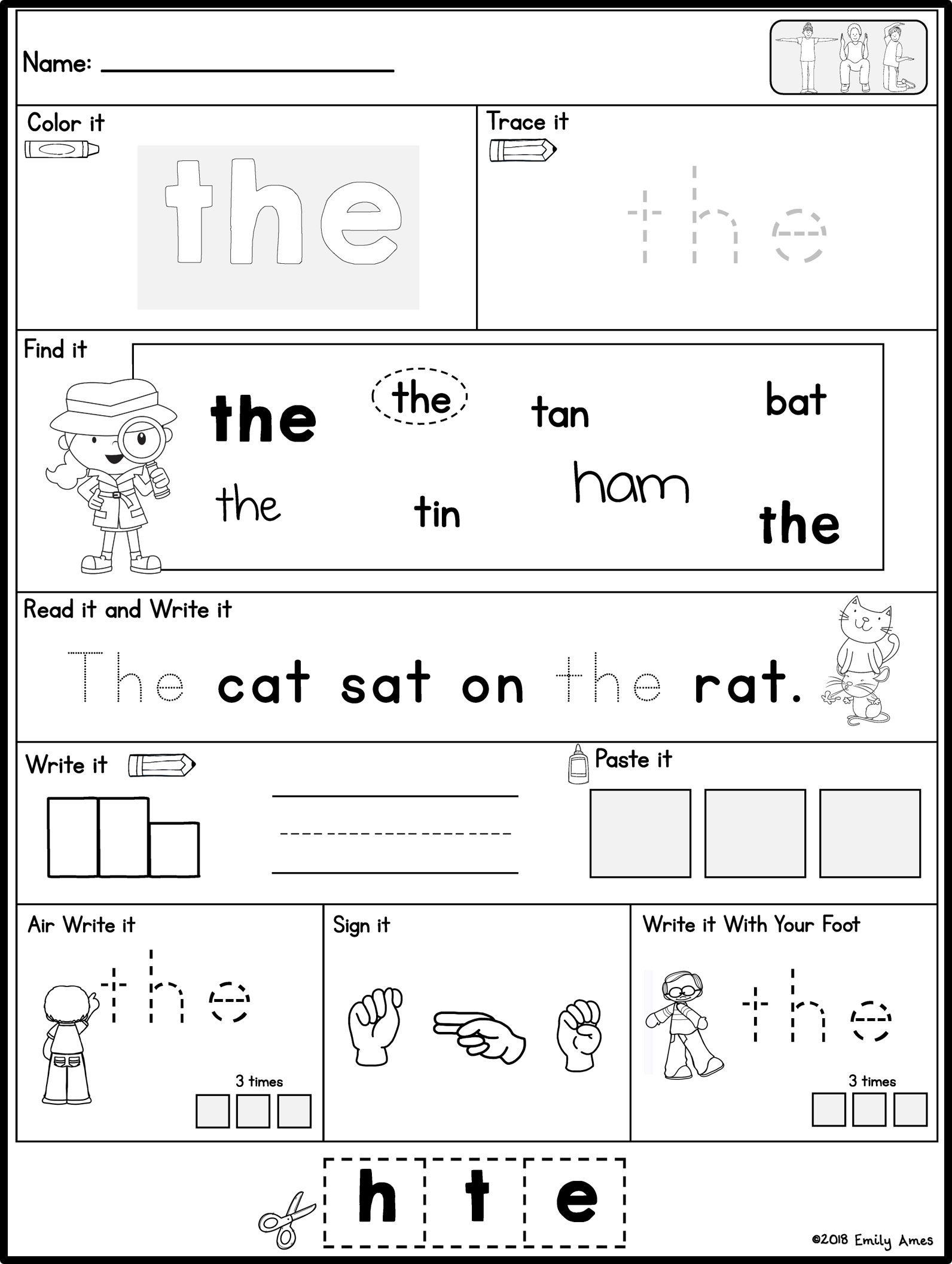 Sight Words Practice Pages Fry S 1st 100 Words