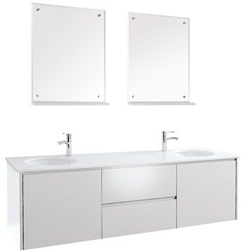 Fellino Wall Mounted Double Bathroom Vanity Set White At Modernbathroom Get