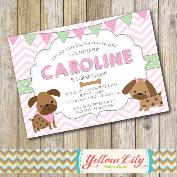 Puppy Dog Birthday Party Invitation Twins
