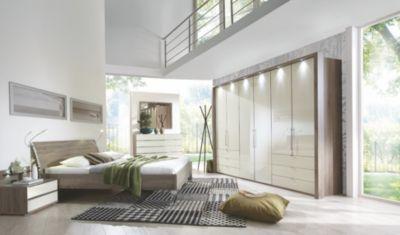 Schlafzimmer mit Bett 180 x 200 cm magnolie Glas