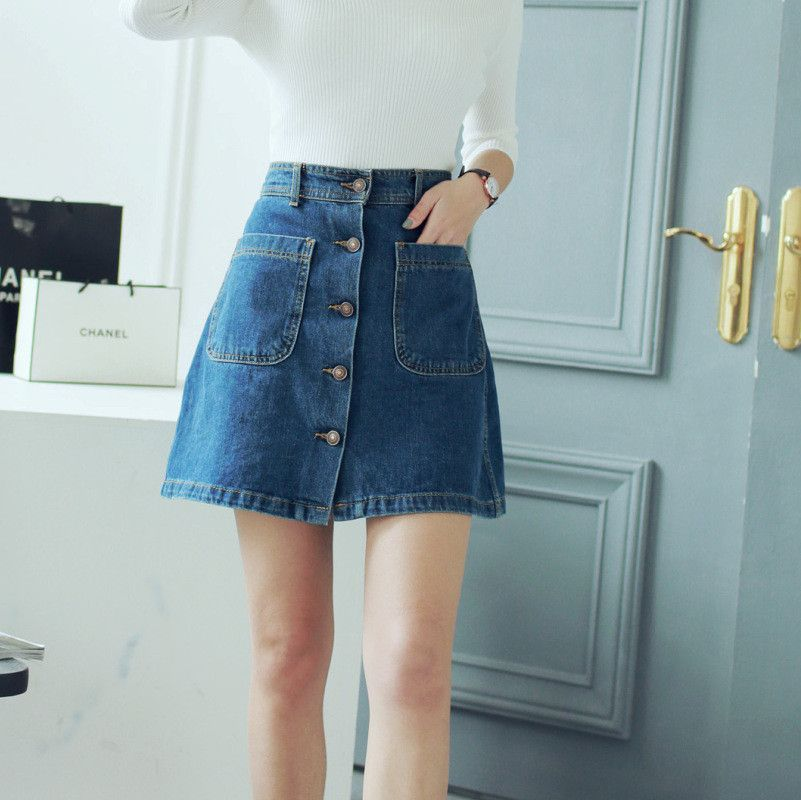 Korean Fashion - double pocket waist denim skirts