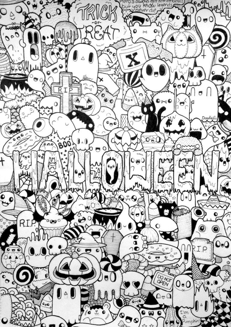 Halloween Doodles Doodle Coloring Pages Doodle Art Drawing