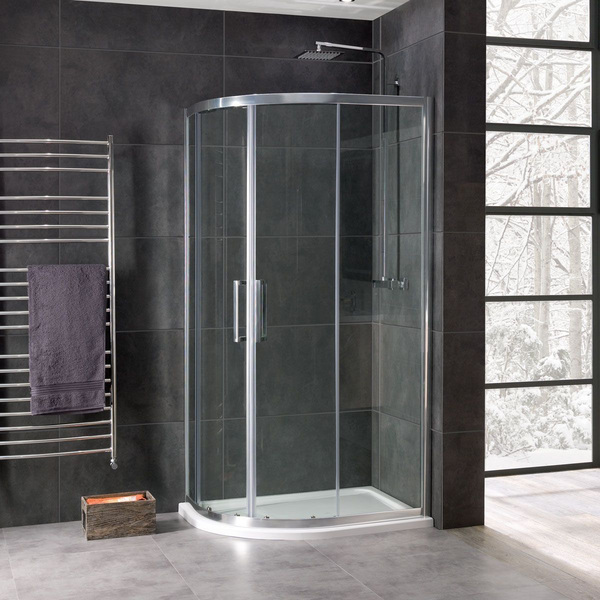 Coral 8mm Offset Quadrant Shower Enclosure 1200 x 900mm in