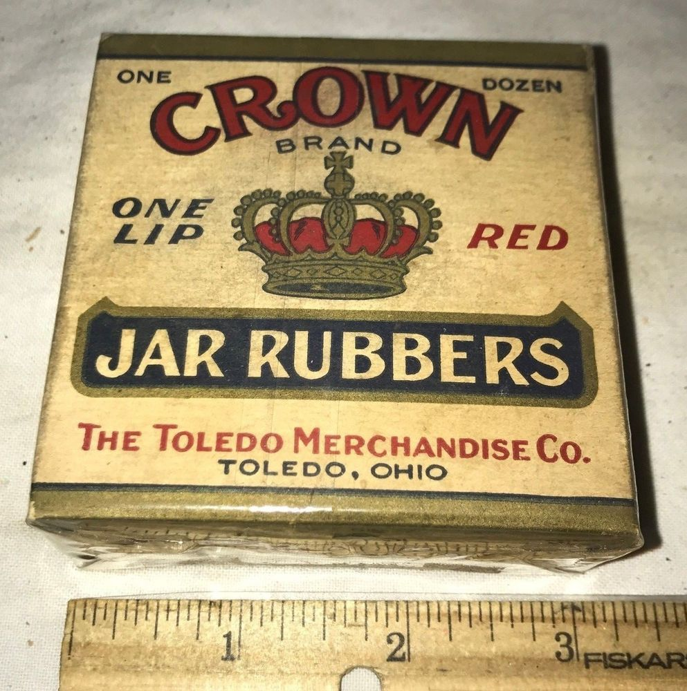 ANTIQUE CROWN FRUIT JAR RING RUBBERS VINTAGE CANNING BOX