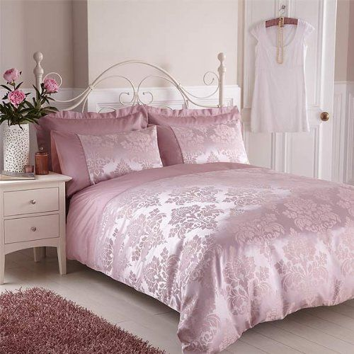 housse de couette 2 personnes anastasia jacquard imitation soie rose 200 x 200 cm dessus. Black Bedroom Furniture Sets. Home Design Ideas