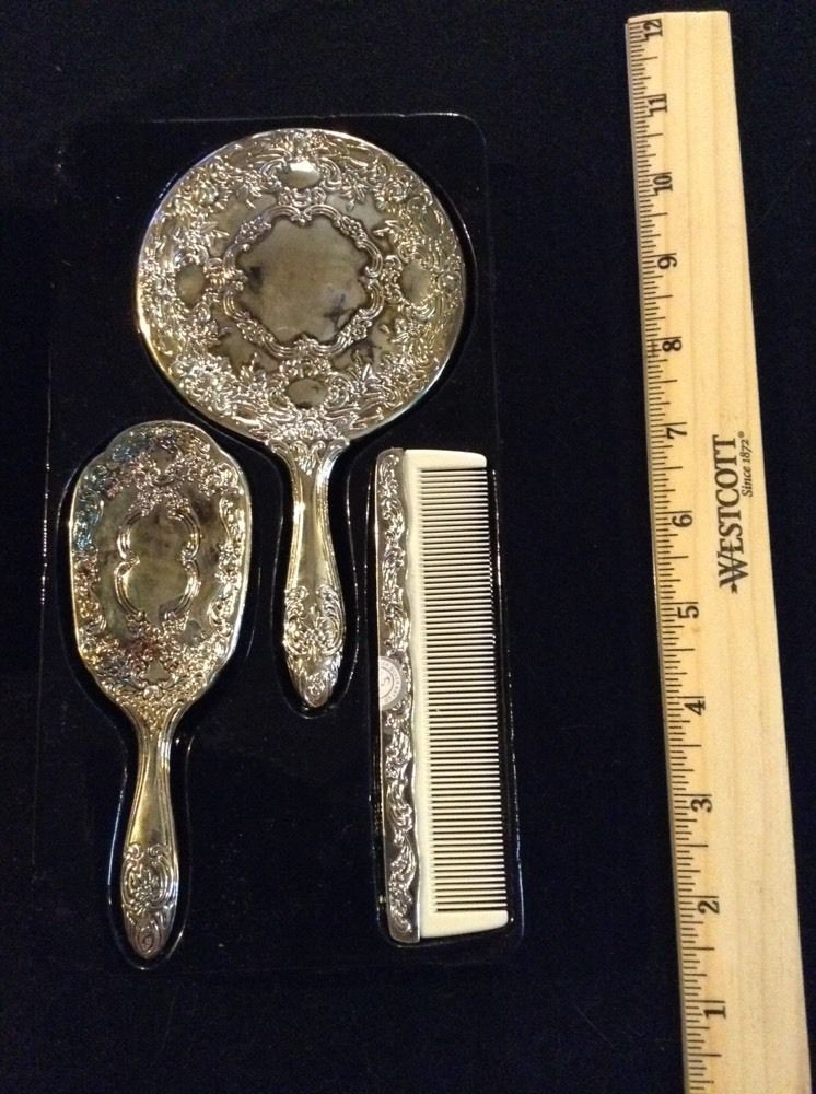 Childs 3 Piece Silver Plate Dresser Vanity Set Brush Comb Mirror