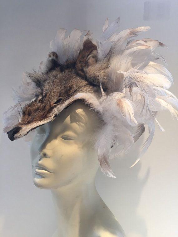 White feather headdress- Fox head- Fox Feather headband- music festival-  Worrier headpiece - Burning man- Coachella -Animal Fascinator. Hello dc736bb53c3