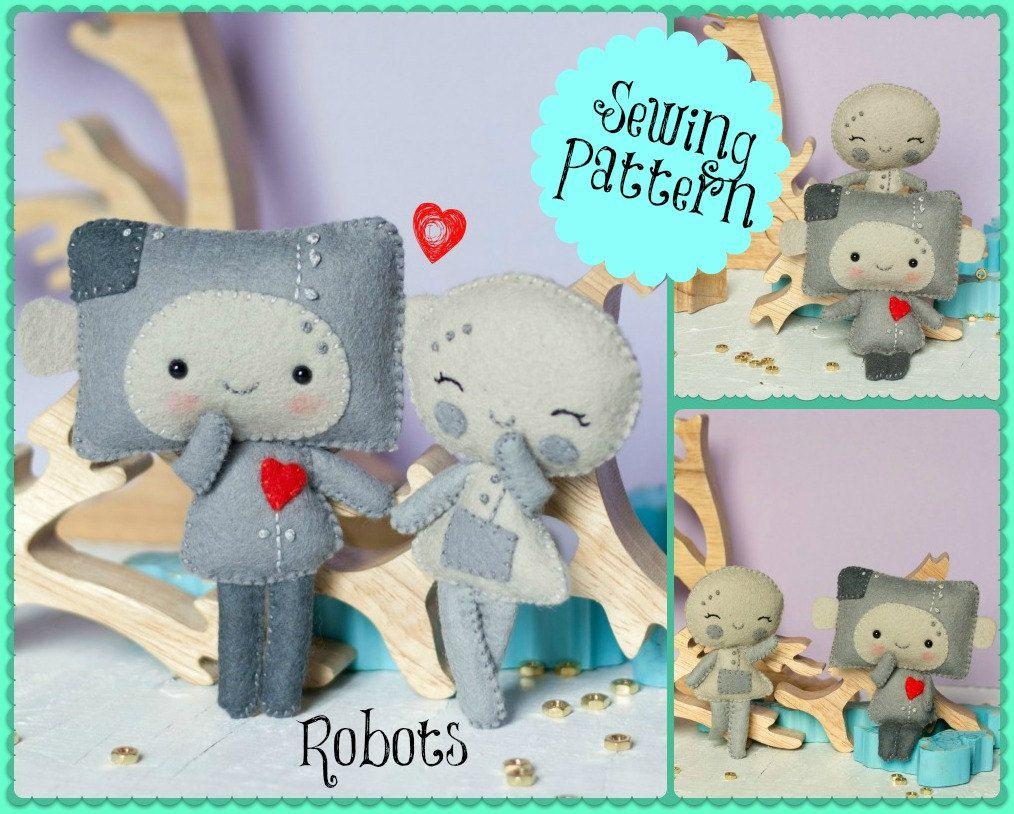 PDF. Robots charming and snow pattern .Plush Doll Pattern, Softie ...