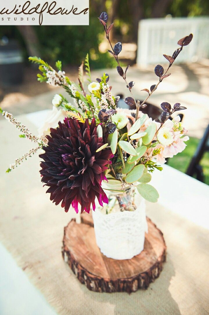 Rustic center piece simple centerpiece burgundy and