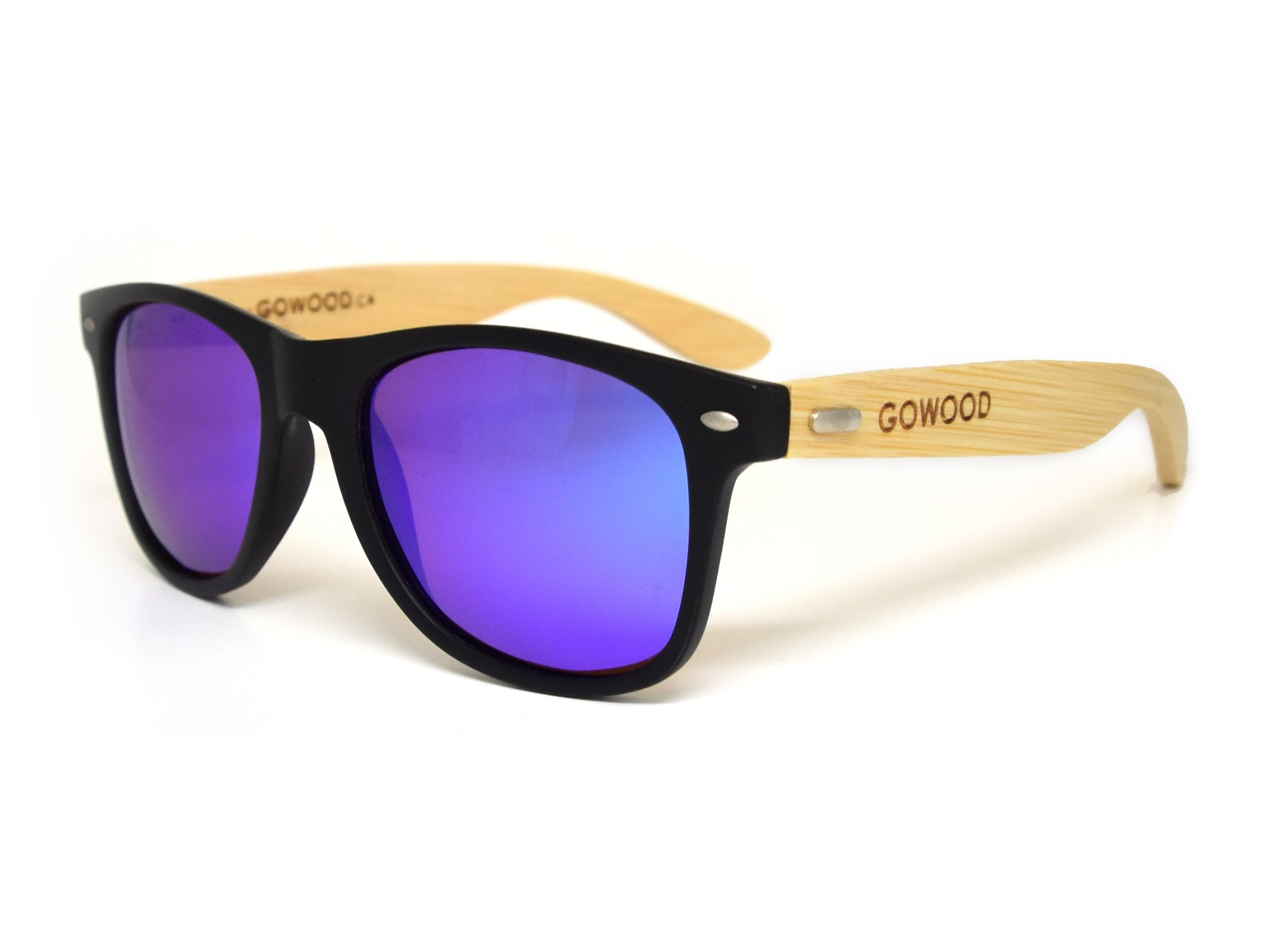 57283136e56 Classic wayfarer sunglasses with blue mirrored lenses and bamboo legs. They  have polarized lenses with a UV400 protection.  wood  sunglasses  bamboo ...