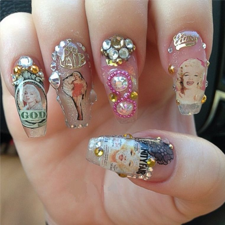 Marilyn Monroe nails .... oooooh! | Crystals, diamonds, and all that ...