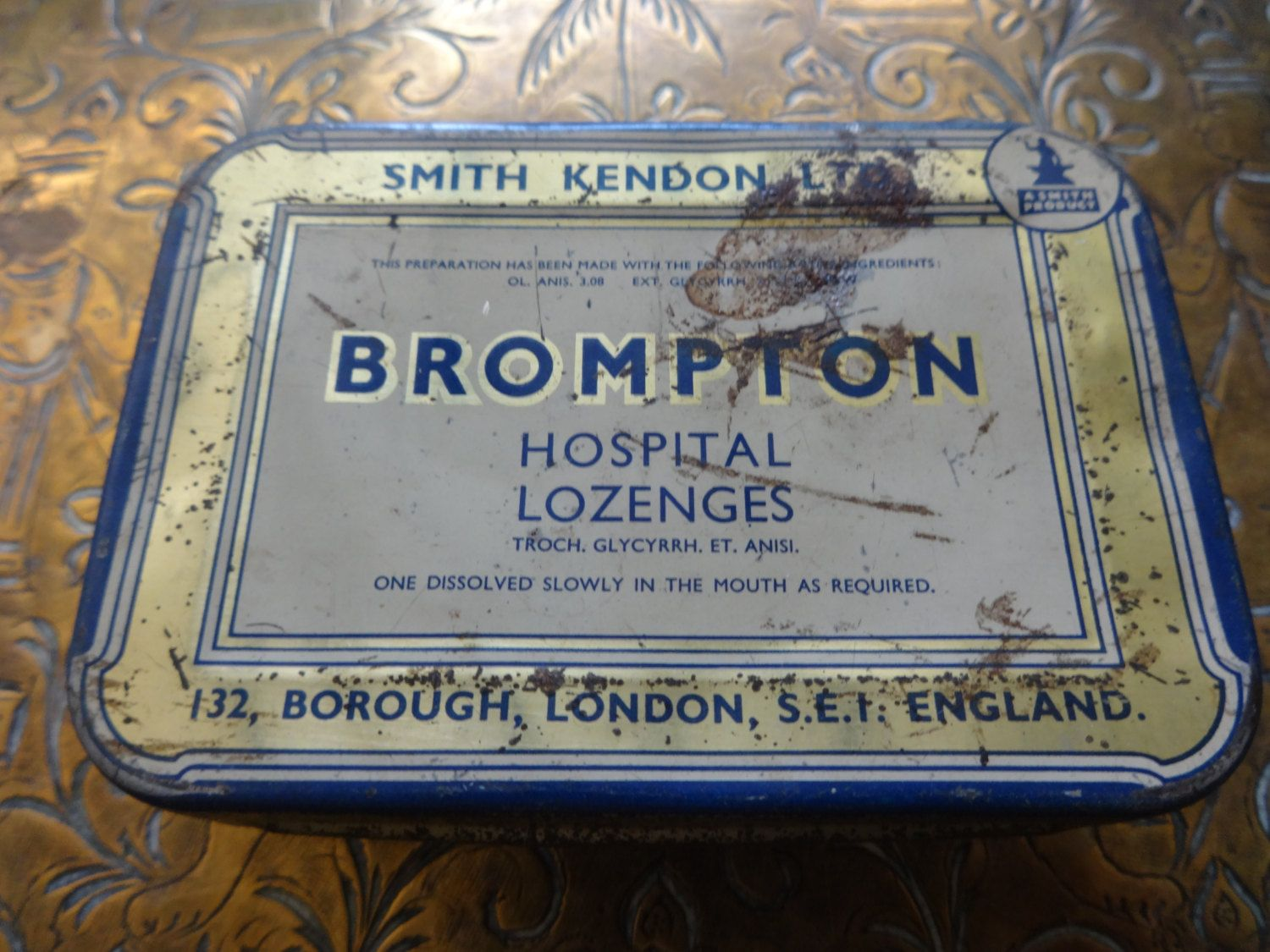Vintage English Brompton Hospital Lozenges Medicine Tin Box Storage Container Circa 1950 S Purchase In Here