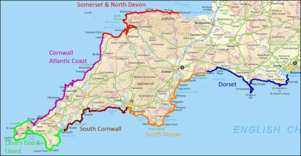 Southwest Coast Path Map Map of South West Coast Path | Wales   Pembrokeshire in 2019  Southwest Coast Path Map