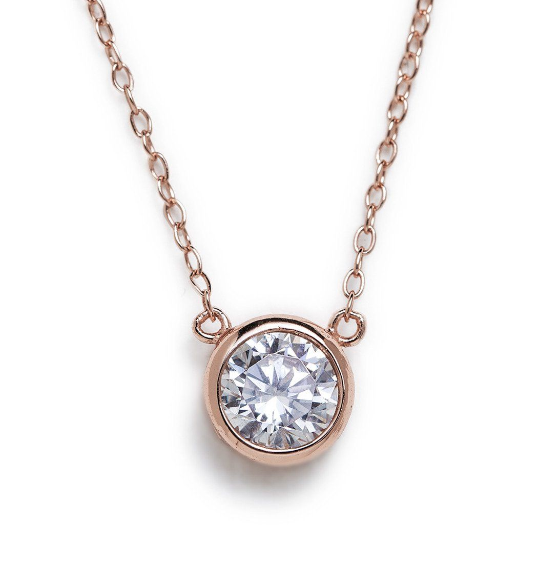 Ct diamond pendant bezel set diamond necklace diamond pendant