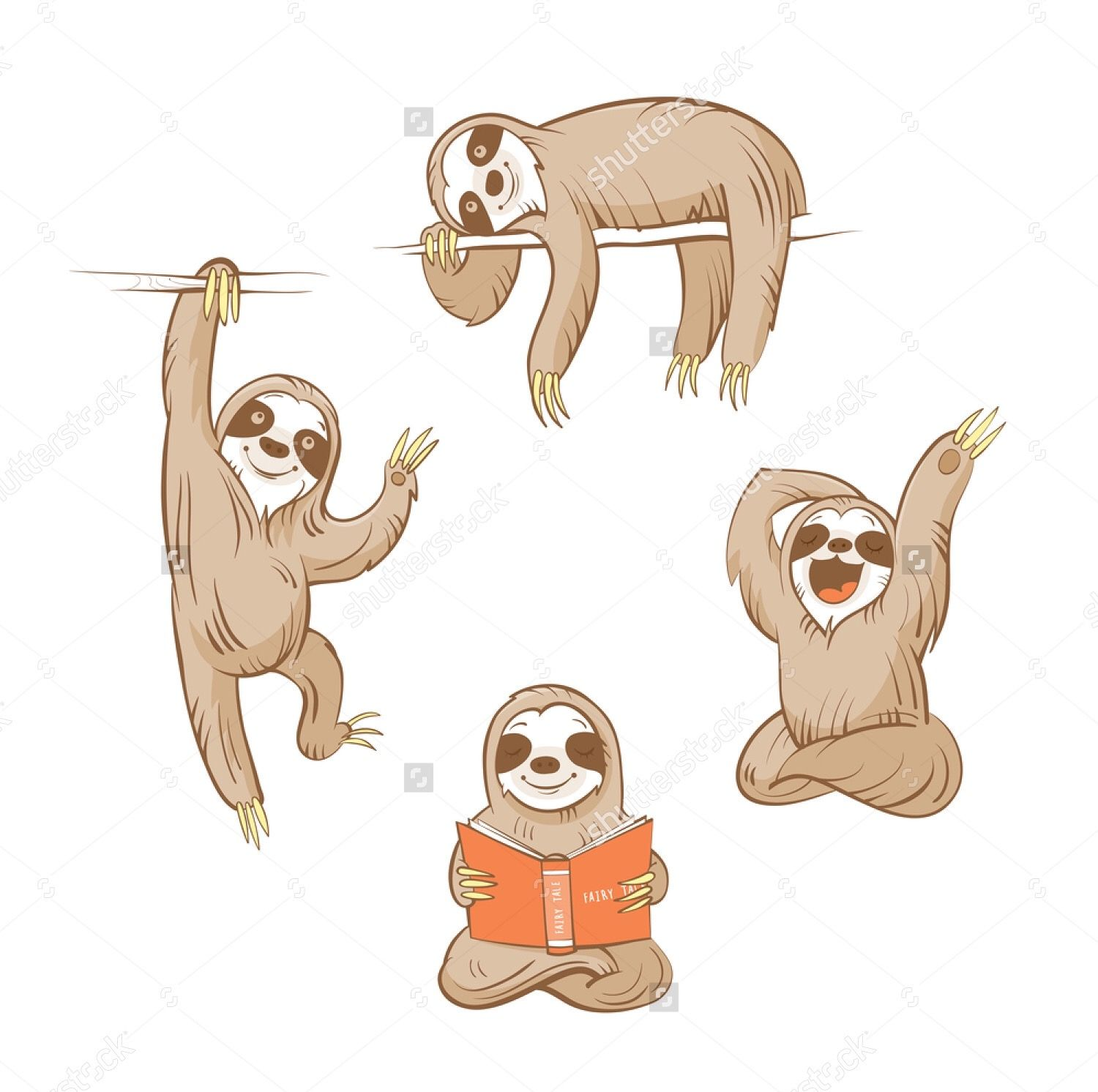 Sloths Shutterstock Sloth Drawing Sloth Cartoon Sloth Art