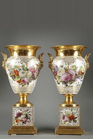 Porcelain pair of vases marked Jacob Petit