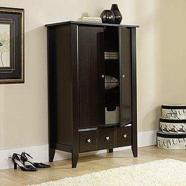 Jamocha Wood Armoire #spon | Wood closet shelves, Wood ...