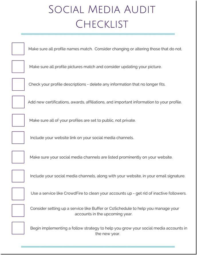 Social Media Audit Blogging - audit templates