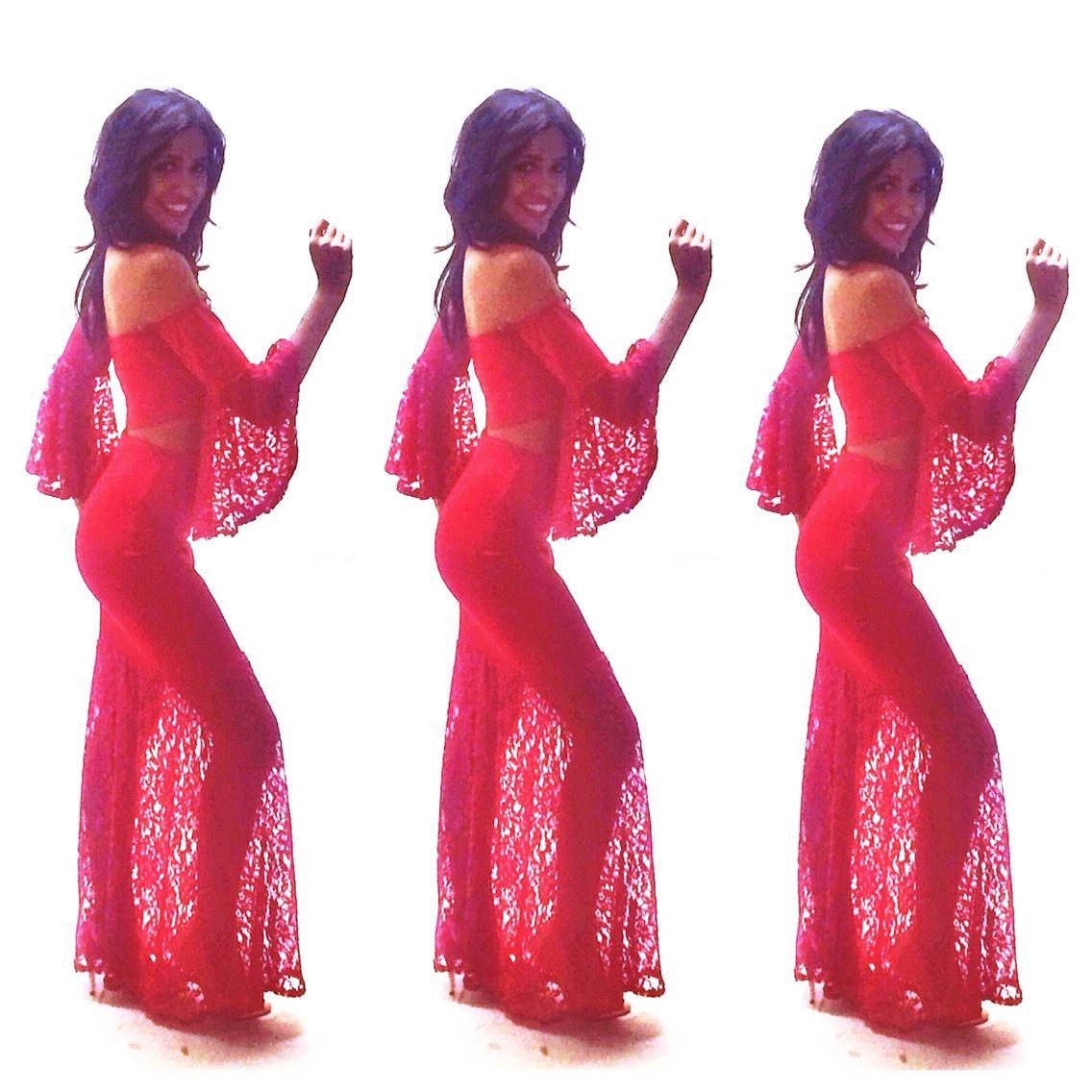 Behind The Scenes Salsa Dancer Emoji Model Dress Fashion Shoot Red Dress Dresses Model Dress