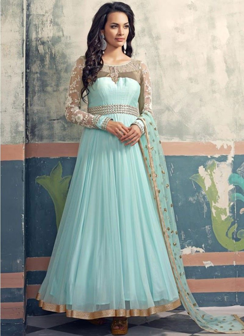 Bring to light your mystic and hidden beauty as step out in this sky blue faux georgette designer floor touch anarkali suit. This awesome designer floor touch anarkali suit embellish with embroidered ...