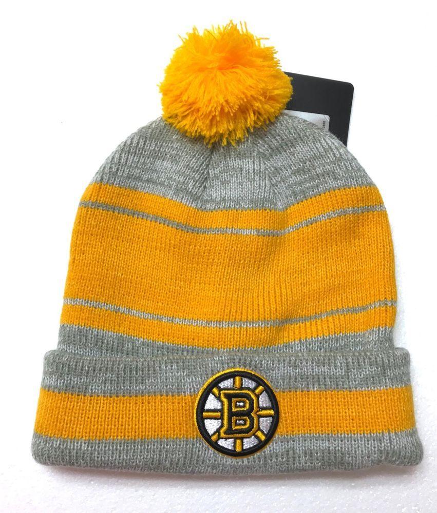 806f3fd50cd new BOSTON BRUINS POM BEANIE Gray Yellow Cuffed Winter Knit Ski Hat  Men Women  FanFavorite  BostonBruins
