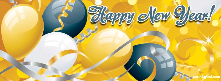 Happy New Year Yellow Blue Balloons Facebook Cover CoverLayout.com