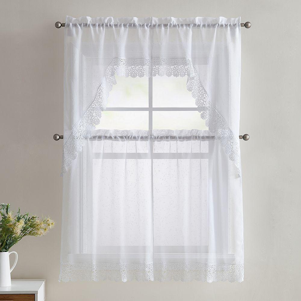 Vcny 4Piece Galiana Lace Kitchen Curtain Set White  Kitchen Interesting White Kitchen Curtains Inspiration