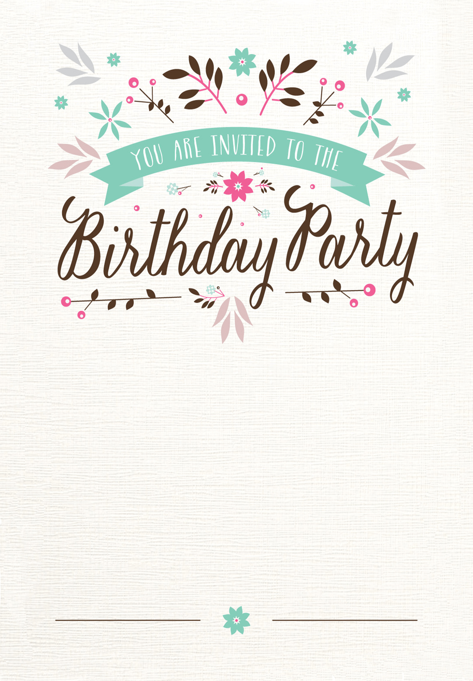 Flat Floral Free Printable Party Invitation Template Greetings Island Templat Undangan Ulang Tahun Kartu Ulang Tahun