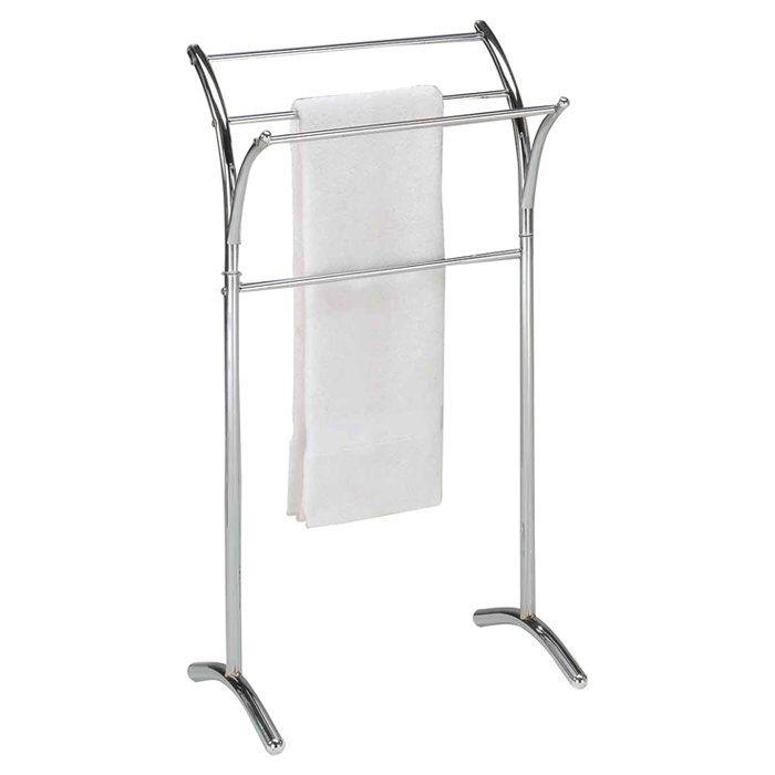 free standing towel stand free standing towel rack towels and chrome finish. Black Bedroom Furniture Sets. Home Design Ideas