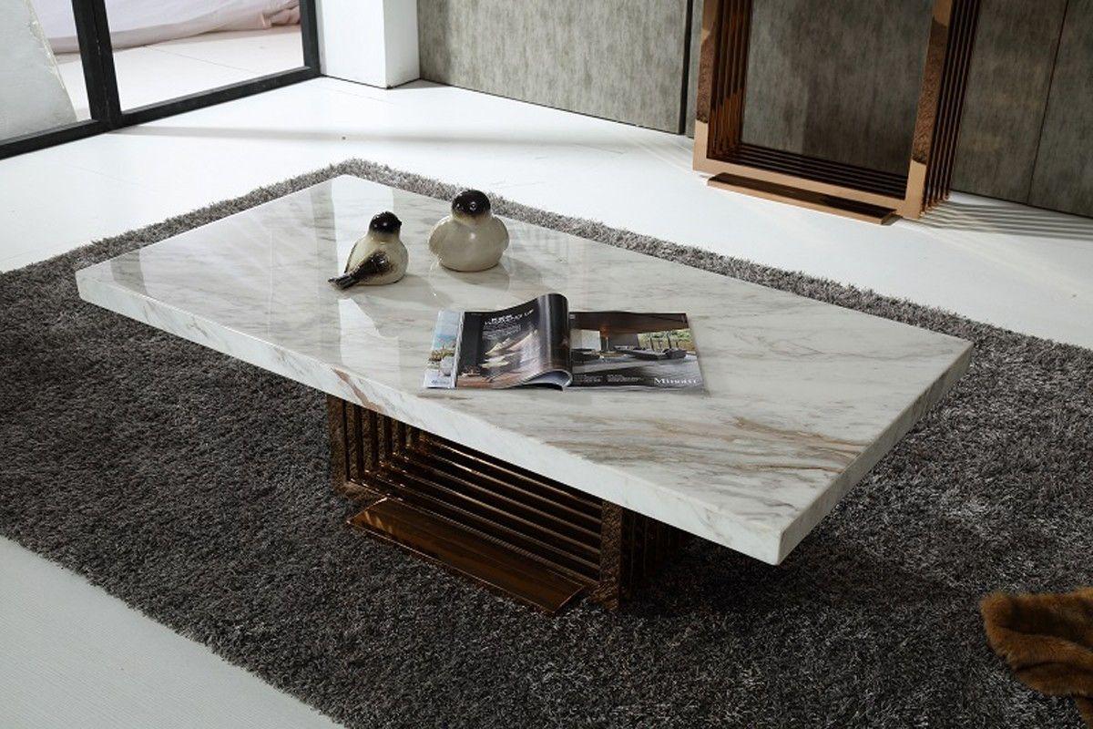 Fabrizio Modern White Marble Coffee Table Marble Coffee Table Marble Top Coffee Table Rose Gold Coffee Table