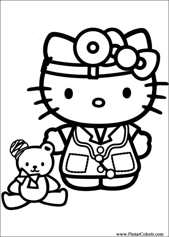 Drawings To Paint Amp Colour Hello Kitty Print Design 038