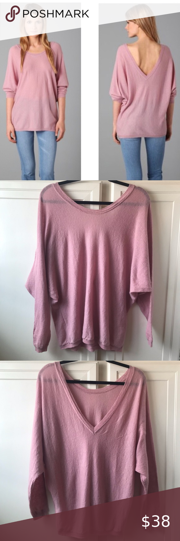 Feel The Piece Cashmere V Back Mauve Sweater OS in 2020