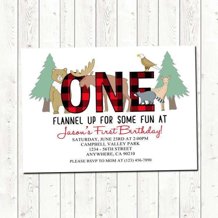 Flannel Party Invitations, Flannel Birthday Invitation, Printable ...